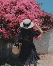 dress,hat,tumblr,mini dress,black dress,summer dress,summer outfits,sun hat,straw hat,bag,woven bag