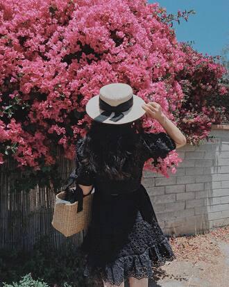 dress hat tumblr mini dress black dress summer dress summer outfits sun hat straw hat bag woven bag