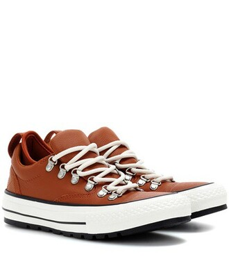 sneakers leather orange shoes