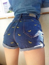 shorts,banana jeans,denim shorts,cuffed shorts,bananas,High waisted shorts,bananas pattern,jeans,cute shorts,banana print,yellow,cute,instagram,fashion,denim,it girl shop,hipster,summer,girl,pretty,hippie,chic,grunge,high waisted jeans,high waisted,girly,sexy,short,blue jeans,blue,summer shorts,adorable af,love,high waisted denim shorts,pants,banana shorts,blue shorts,high waisted blue shorts