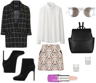 lana jayne blogger white shirt leather backpack blazer checkered black boots