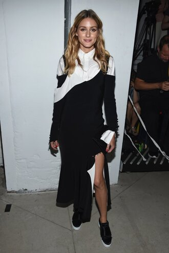 shoes skirt asymmetrical skirt olivia palermo top blouse ny fashion week 2016 blogger