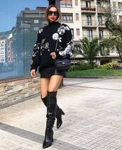 sweater,knitted sweater,knitwear,sequins,mini skirt,floral,faux leather,thigh high boots,shoulder bag,sunglasses