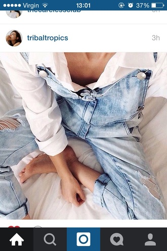 jumpsuit dungarees dungaree denim blue jeans cute cool summer spring fall outfits winter outfits fashion style tumblr teenagers girl indie alternative rock urban retro vintage
