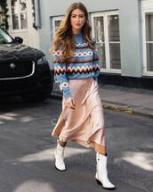 skirt,midi skirt,white boots,sweater,satin,ring