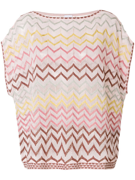 M Missoni t-shirt shirt t-shirt oversized metallic women cotton purple pink top