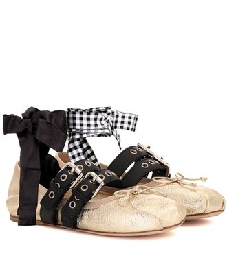 shoes leather gold
