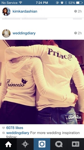 princess prince sweater matching couples couple couple sweaters shirt sweet princess wedding dresses t-shirt blouse white top couples shirts