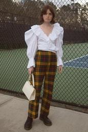 pants,tartan pants,boots,black boots,blouse,puffed sleeves,bag,white blouse,double3xposure,blogger