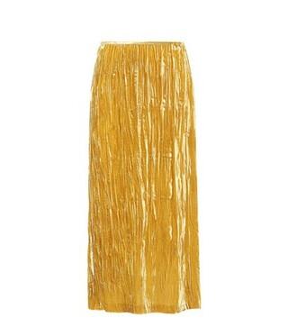 skirt velvet skirt crushed velvet velvet yellow