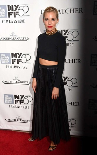 black top crop tops skirt sienna miller