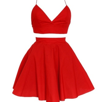 top styleiconscloset.com red dress crop tops skirt matching set
