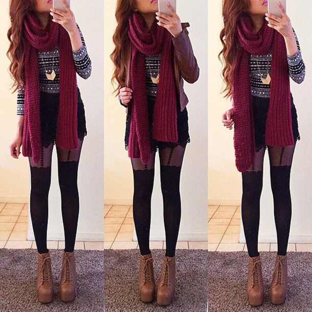 bloogers shirt longsleeve shirt long sleeves winter sweater grey stripes polka dots sweater heels scarf shorts jewelry tights shoes t-shirt
