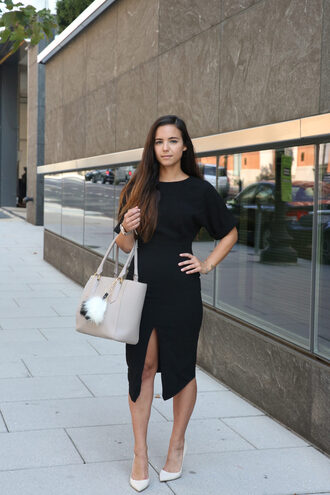blogger dress shoes bag jewels black dress slit dress nude bag office outfits white heels date outfit midi dress asymmetrical asymmetrical dress fur keychain