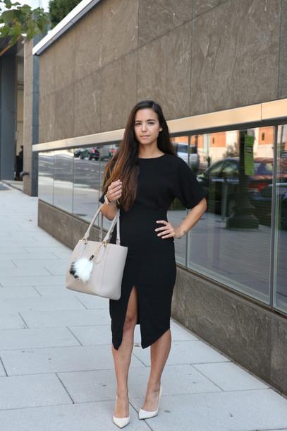 Blogger Dress Shoes Bag Jewels Black Dress Slit Dress Nude