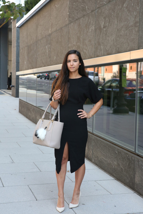 Blogger Dress Shoes Bag Jewels Black Dress Slit
