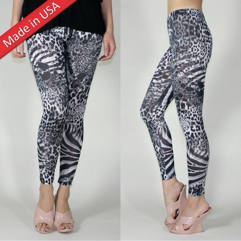 1d46dffd14833 New Animal Print Tiger Zebra Leopard Black White Dots Leggings Tight Pants