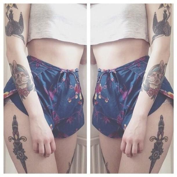 shorts tattoo pattern birds flowered shorts vintage shorts