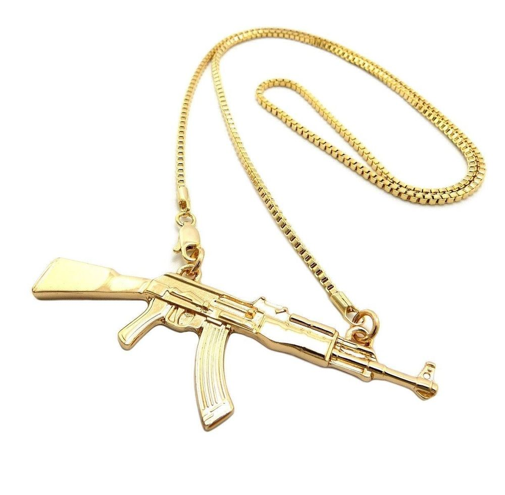 (swaggers) new gold ak machine gun pendant 2mm/24