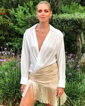 top,tassel,mini skirt,white blouse,v neck,earrings