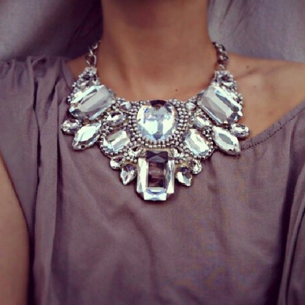 jewels necklace fashion diamonds jewelry silver statement necklace