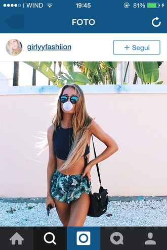shorts girly tropical tropical print shorts palm tree print fashion shirt summer shorts palm tree green loose bluegreen shorts blue shorts green shorts