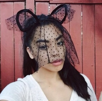 hair accessory headband kitty headband kitty lace headband halloween costume..