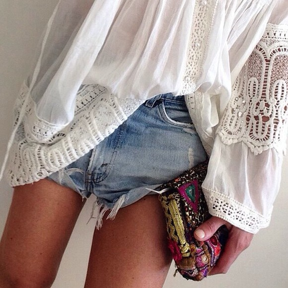 bag clutch boho gypsy jeans shorts white lace crochet