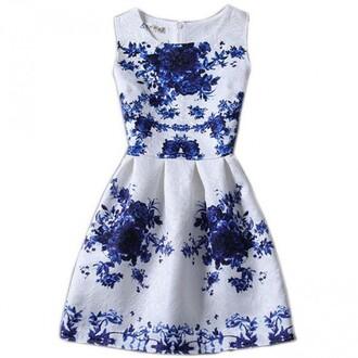 dress summer blue white spring feminine girly boogzel
