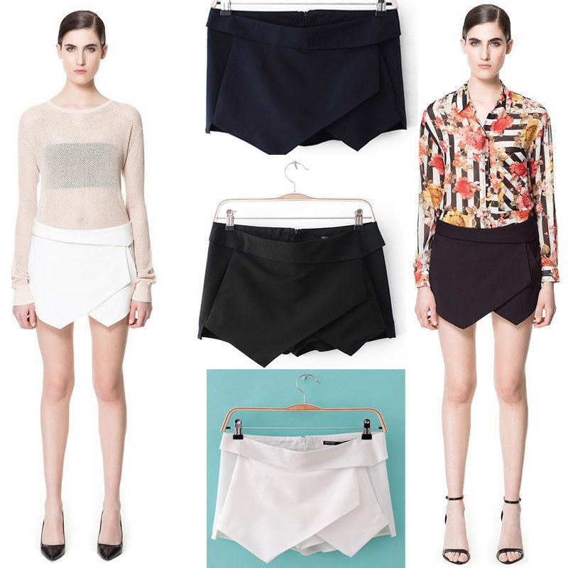 Noble Black White Blue Women Wrap Mini Skort Skirt Irregular Laminated Flanging | eBay