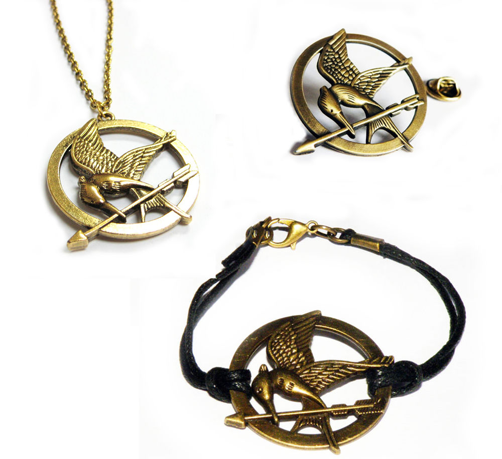 Hunger Games Antique Bronze Mockingjay Bird Pin Badge Bracelet Necklace Set   Ebay