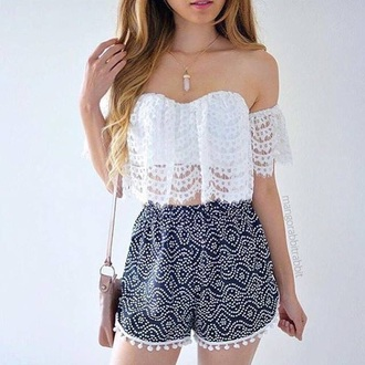 shirt jewels jewelry necklace boho boho jewelry off the shoulder lace top white crop tops