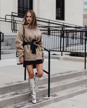 sweater,tumblr,nude sweater,knit,knitwear,knitted sweater,belt,skirt,mini skirt,boots,silver boots,slouchy boots