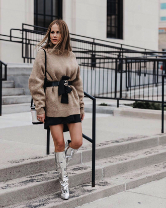 sweater tumblr nude sweater knit knitwear knitted sweater belt skirt mini skirt boots silver boots slouchy boots