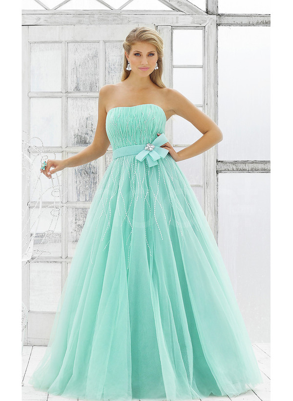 dress strapless and sleeveless blue tulle prom dress floor length