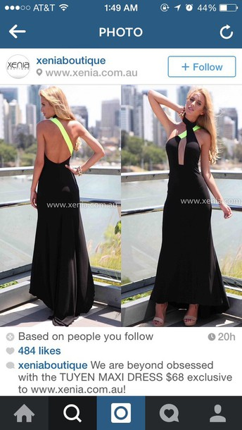 dress neon green black dress maxi dress black maxi dress
