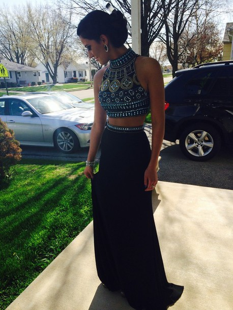 Aliexpress.com : Buy Fashion Two Piece Beaded Top High Neck Formal Dresses 2014 Long Skirt Black Prom Dresses Free Shipping from Reliable dress size from measurements suppliers on 27 Dress
