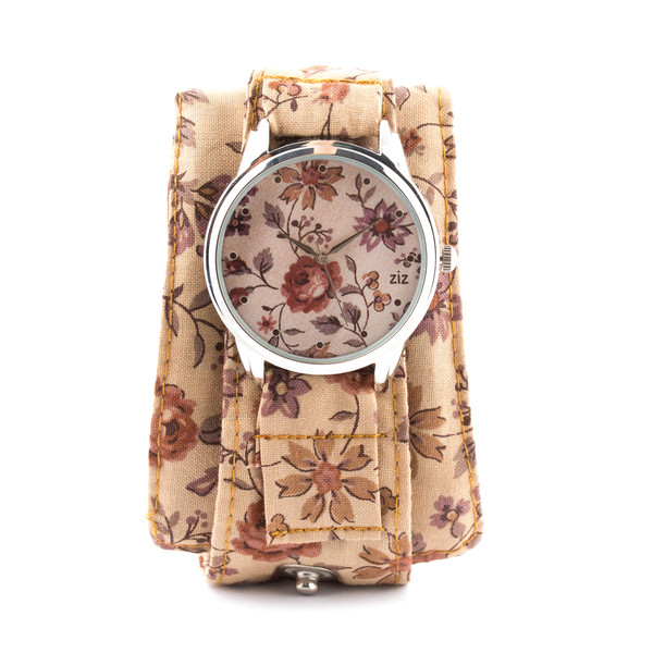 jewels ziziztime watch watch brown flowers pattern ziz watch