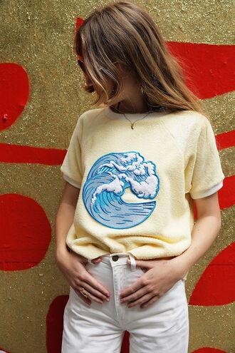 t-shirt yellow yellow top summer top lemongrass wave sea creatures embellished embroidered sea beach