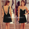 Fashion women's backless golden lace chiffon dress - $17.99
