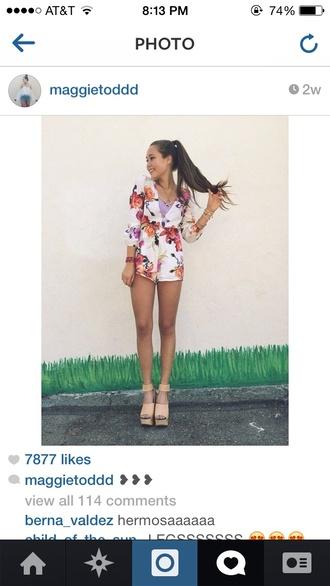 floral vintage hipster instagram forever 21 romper flowers print