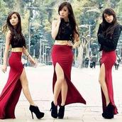skirt,maxi skirt,burgundy,shoes