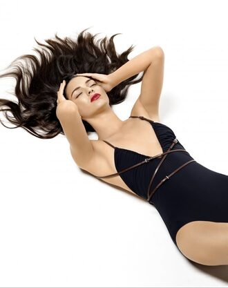 swimwear one piece swimsuit black swimwear kendall jenner kardashians editorial summer model