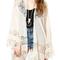See-through lace chiffon kimono|disheefashion