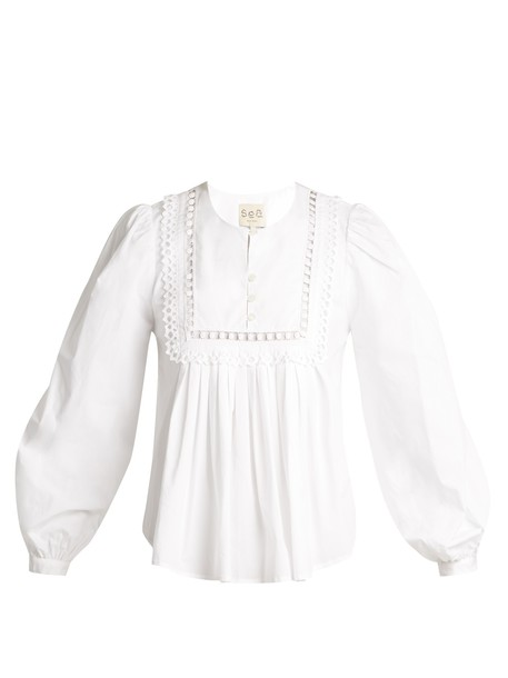 SEA blouse pleated lace cotton white top