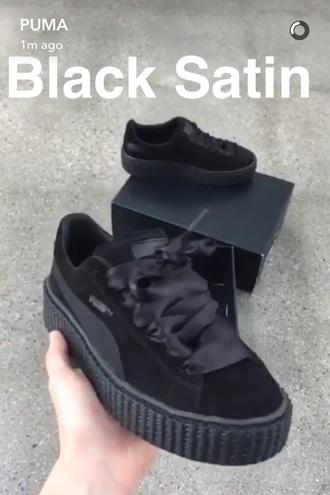 shoes puma puma sneakers black puma x rihanna rihanna pumas