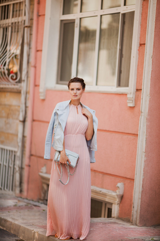 the bow-tie blogger dress shoes jacket bag pink dress halter dress blue jacket shoulder bag maxi dress