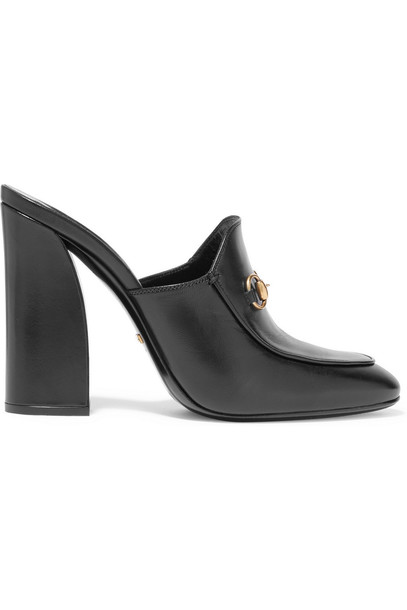gucci mules leather black shoes