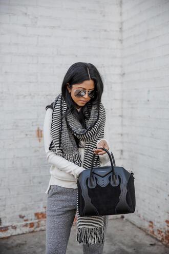scarf tumblr stripes bag black bag sweater white sweater pants grey pants joggers joggers pants sunglasses aviator sunglasses mirrored sunglasses
