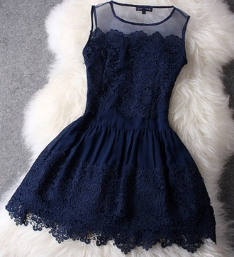 dress blue lace dress robe dentelle bleu marine jolie